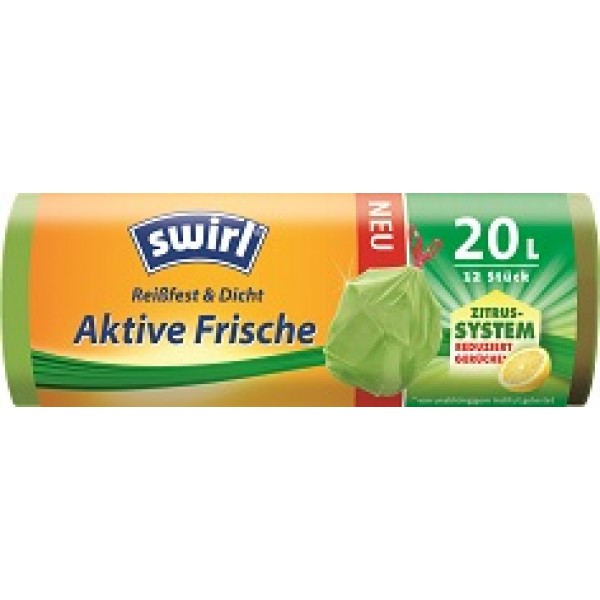swirl® Aktive Frische Müllbeutel, 20l, 12 Stück
