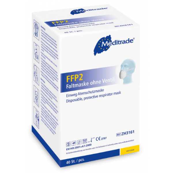 FFP2 Faltmaske ohne Ventil 4 lagig, 40 Stück